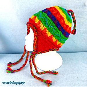 Rainbow Wool Ear Flap Hat Knit Vintage small adult